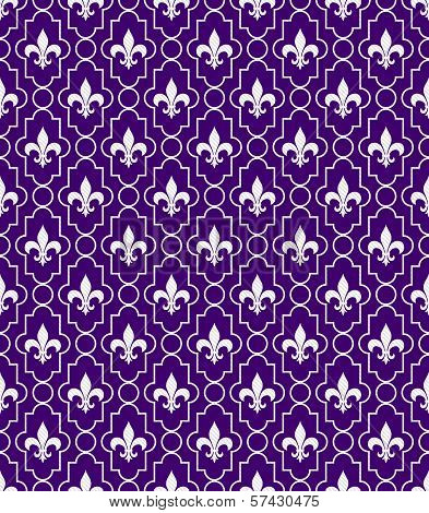 White And Purple Fleur-de-lis Pattern Textured Fabric Background