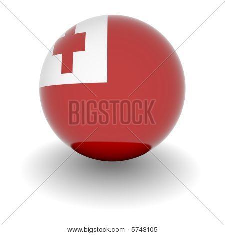 High Resolution Ball With Flag Of Tonga