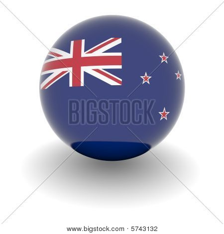 High Resolution Ball With Flag Of New Zealand
