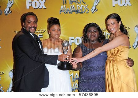 Lee Daniels, Mo'Nique, Gabourey Sidibe and Paula Patton at the 41st NAACP Image Awards - Press Room, Shrine Auditorium, Los Angeles, CA. 02-26-2010