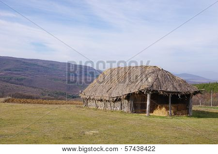 Hayloft From Interwoven Sticks Plastered With Mud
