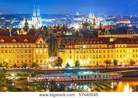Night scenery of Prague, Czech Republic