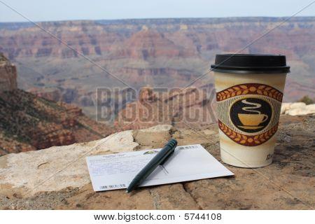 Usa, Grand Canyon - Coffee And Post Card
