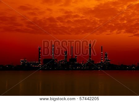 Oil Refinery Factory In Silhouette