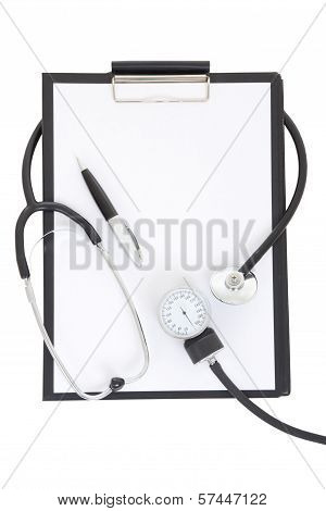 Clipboard With Stethoscope And Sphygmomanometer