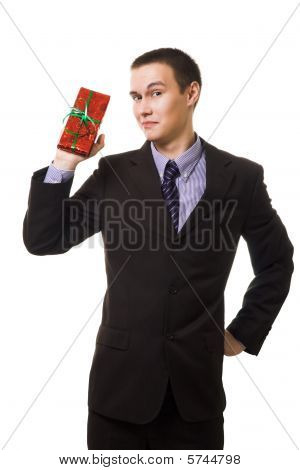 Young Man Hold Small Gift