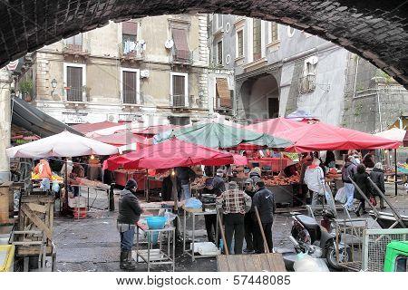 Old Fish Market Of Catania