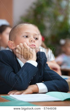 Schoolboy In Concentration. Intresting Lecture