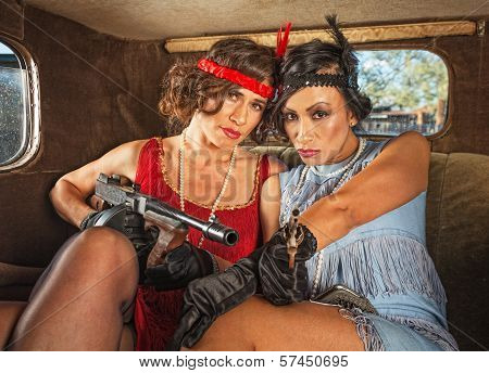 Retro Gangster Women In Car