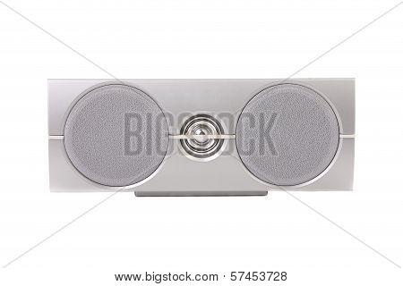 Closeup of gray sound speaker.