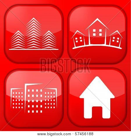 Vector red real estate app icon set. Eps10