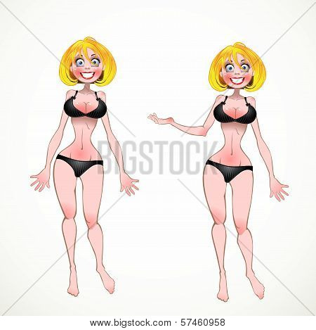 Nude Blond On Black Underwear In Two Poses Of Hands