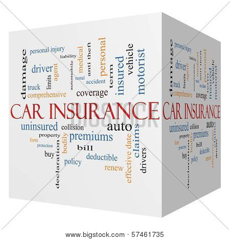 Car Insurance 3D Cube Word Cloud Concept