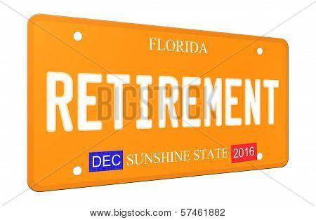 3D Retirement Florida License Plate