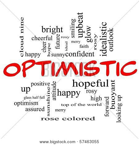 Optimistic Word Cloud Concept In Red Caps