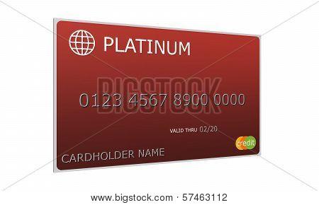 3D Platinum Red Credit Card