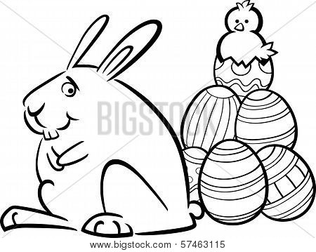 Easter Bunny And Eggs Coloring Page