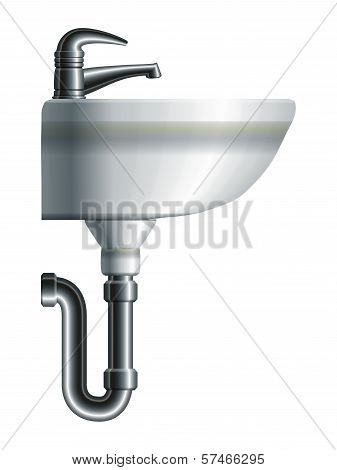 Washing Sink Side View With Metal Pipe