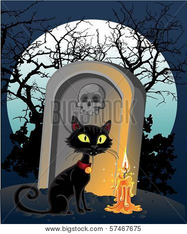 Halloween Decoration - A Grave With A Black Cat In The Night
