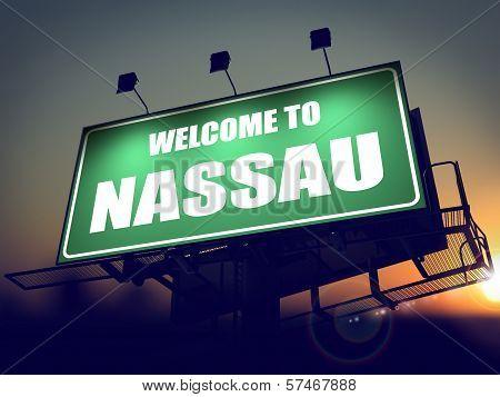 Billboard Welcome to Nassau at Sunrise.