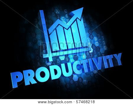 Productivity on Dark Digital Background.
