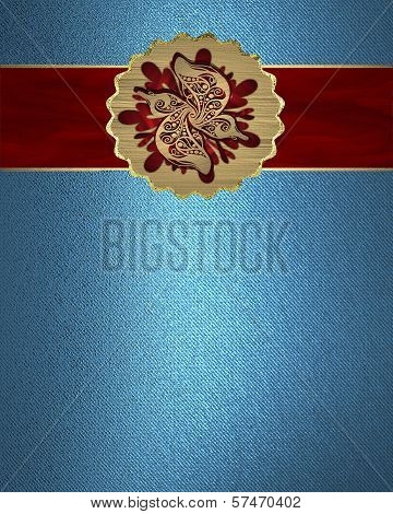 Blue Background with abstract red pattern in nameplate.