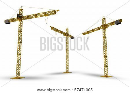 Construction Cranes Isolated