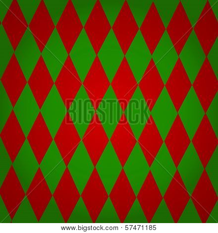 Colorful Christmas Background From Red And Green Diamond Shapes For Your Text