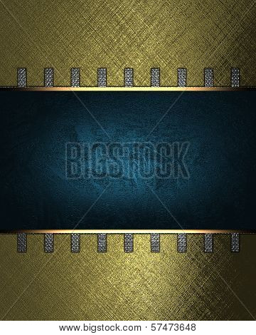 Gold background with blue nameplate for writing and iron lugs.
