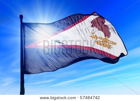 American Samoa flag waving on the wind