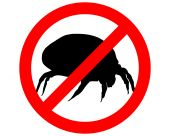 stock photo of mites  - The illustration of a prohibition sign for house dust mites - JPG