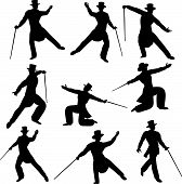pic of debonair  - A set of Silhouettes of a dancer in top hat and tails - JPG