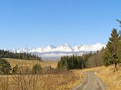 image of v-day  - Photo of the first spring days and look over the valley to the mountains High Tatras Slovakia - JPG