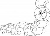 picture of caterpillar cartoon  - caterpillar friendly smiling - JPG