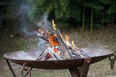 foto of brazier  - a Fire In The Brazier in the mountain - JPG