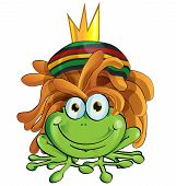 pic of reggae  - rasta frog cartoon isolate on white background - JPG