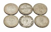 stock photo of shilling  - six vintage union of south africa five shilling coins - JPG