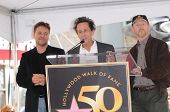Russell Crowe, Brian Grazer and Ron Howard  at the Russell Crowe star ceremony into the Hollywood Wa