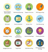 stock photo of time-piece  - This set contains 16 SEO and Internet Marketing Flat Icons that can be used for designing and developing websites - JPG