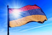 stock photo of armenia  - Armenia flag waving on the wind on blue sky - JPG