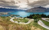 image of luge  - Luge track with beautiful lake and mountain at Skyline Queenstown New Zealand - JPG