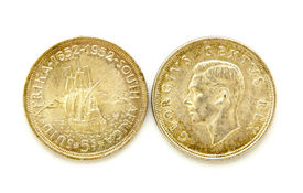 stock photo of shilling  - front and back of vintage south african five shilling coins - JPG