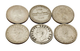 pic of shilling  - six vintage union of south africa five shilling coins - JPG