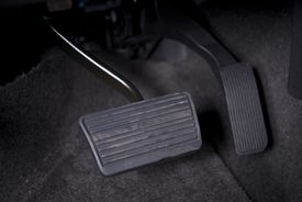 stock photo of pedal  - Automatic Transmission Car Pedals Closeup - JPG