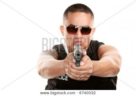 Hispanic Cop Aiming Pistol