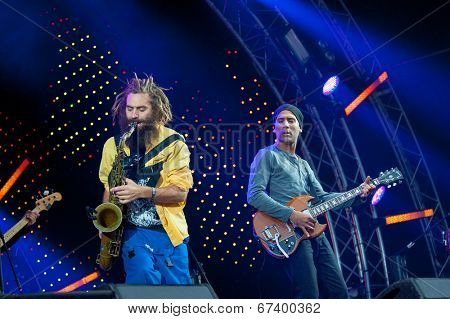 MOSCOW - JUNE 14: Balkan Beat Box group performs at XI International Jazz Festival