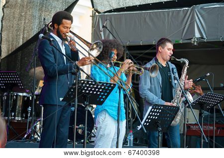 MOSCOW - JUNE 14: Moscow - New Orleans Project group performs at XI International Jazz Festival