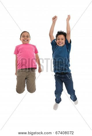 Active Joyful Children Jumping With Joy