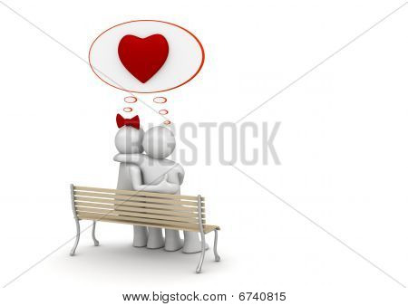 Embracing man and woman on a bench with copyspace