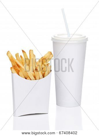 French fries and soda isolated